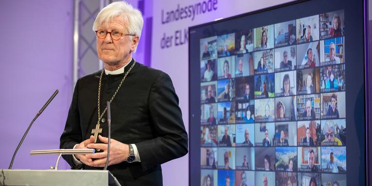 Landesbischof Heinrich Bedford-Strohm bei der digitalen Frühjahrstagung der Landessynode, © elkb/mck