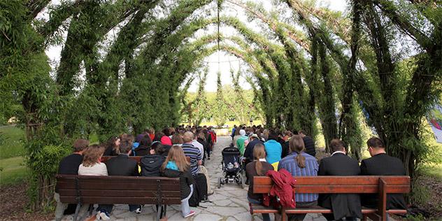 Menschen sitzen unter Weiden, die zu einem Kirchendach geformt sind