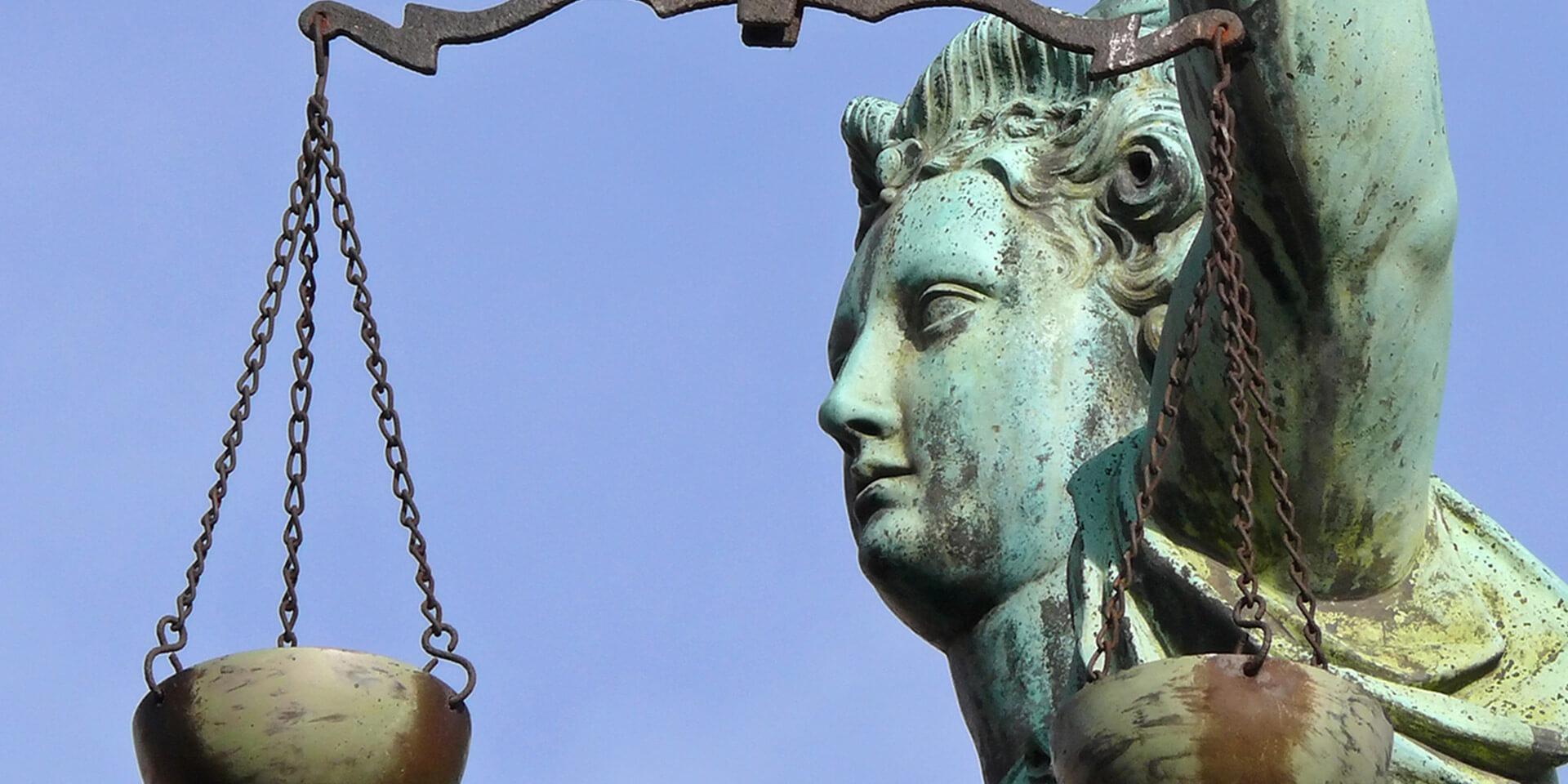 Die Justitia, die Personifikation der Gerechtigkeit.