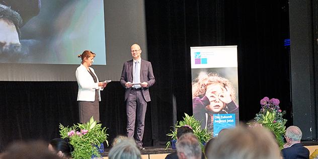 Christiane Münderlein, Dirk Rumpff beim Jubiläum evkita