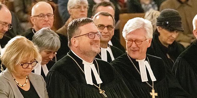 Oberkirchenrat Stefan Blumtritt und Landesbischof Heinrich Bedford-Strohm , © Minkus