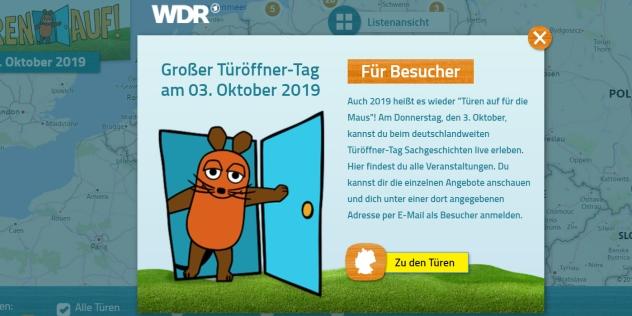 """WDR-Maus feiert am 3. Oktober ihren neunten """"Türöffner-Tag"""", © WDR"""