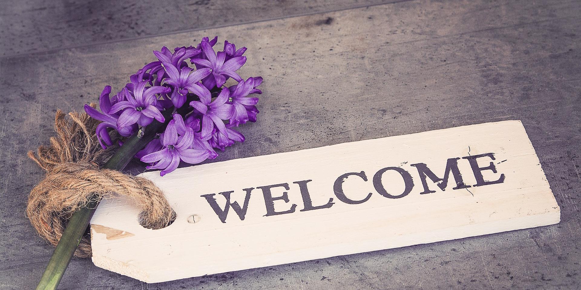 Willkommensschild mit Hyazinthe, © pixabay